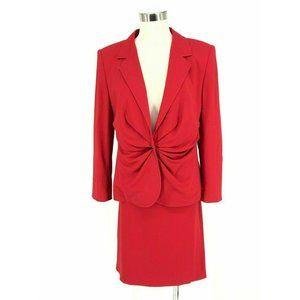 Escada Skirt Jacket Suit Women's Classic Red Ruche